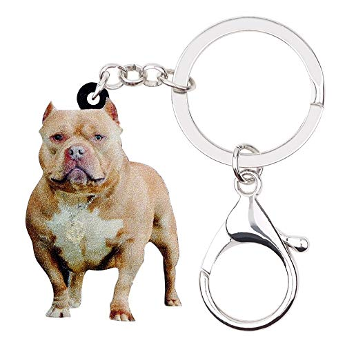 (PAPPET Bulldog Keychain American Pit Bull Key Chain Terrier Dog Car Keyring Puppy Bag Handbag Wallet Charm Pendant Backpack Accessories Pet Jewelry Valentines Birthday Gifts for Dog Lovers)