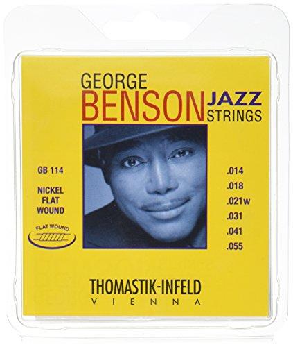 George Benson Guitar Strings (Thomastik-Infeld GB114 Jazz Guitar Strings: George Benson 6 String Set - Pure Nickel Flat Wounds E, B, G, D, A, E Set)