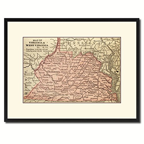 Virginia West Virginia Vintage Antique Map 36105 Print on Canvas with Picture Frame Urban Wall Home Décor Interior Bedroom Design Art Gift Ideas Black 16