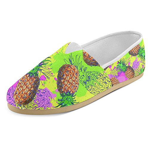 Interestprint Womens Loafers Klassiska Avslappnade Duk Slip På Mode Skor Gymnastikskor Lägenheter Ananas Frukt Multi 12
