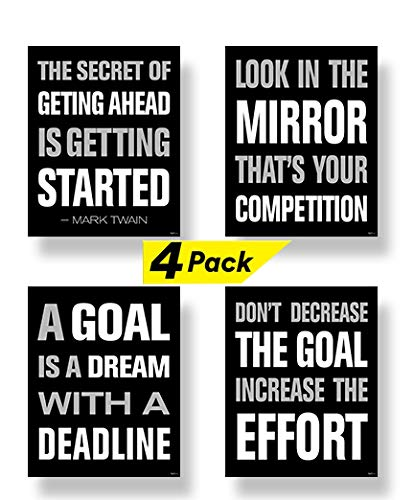 Motivational Posters for Gym, Classroom, Dorm, Office. Inspirational Quotes Makes a Great Gift! Modern Wall Art Set of Four (4) (Each Poster 8