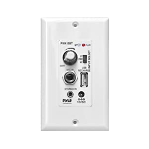 Pyle Bluetooth Receiver Wall Mount | In-Wall Audio Control Receiver with Built-in Amplifier | USB, Microphone, Aux (3.5mm) Input | Speaker Terminal Block | Connect 2 Speakers - 100 Watt (PWA15BT)