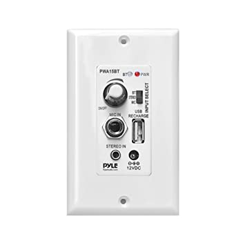 Pyle pared/placa de pared amplificador Control de sonido, entrada auxiliar y entrada de