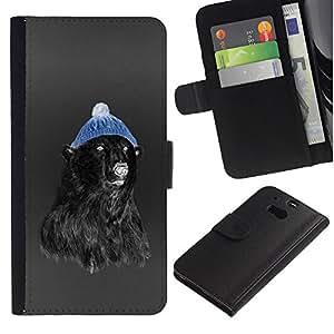 Be Good Phone Accessory // Caso del tirón Billetera de Cuero Titular de la tarjeta Carcasa Funda de Protección para HTC One M8 // Hipster Bear