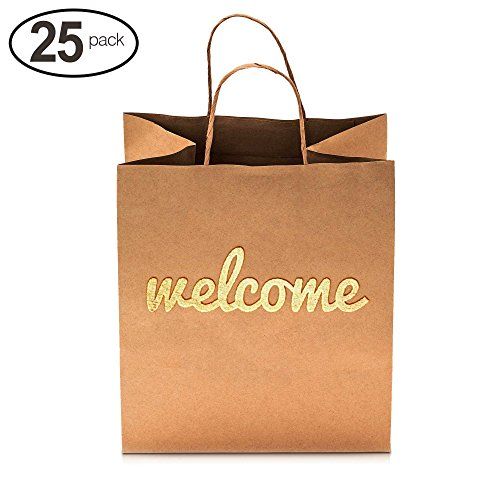 Merry Expressions - Wedding Welcome Gift Bags - 25 Bulk Pack with Gold