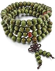 Bracelet Sandalwood Olive color on rubber, 8 mm
