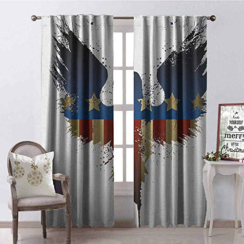 - Gloria Johnson Eagle Blackout Curtain The American Flag on Silhouette of National Bird of The Country Majestic Animal 2 Panel Sets W42 x L90 Inch Blue Red Sepia