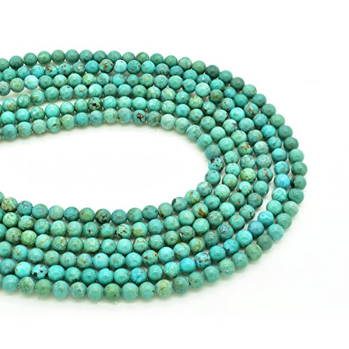 Bluejoy Genuine Natural American Turquoise Round Bead 16 inch Strand for Jewelry Making (3mm)