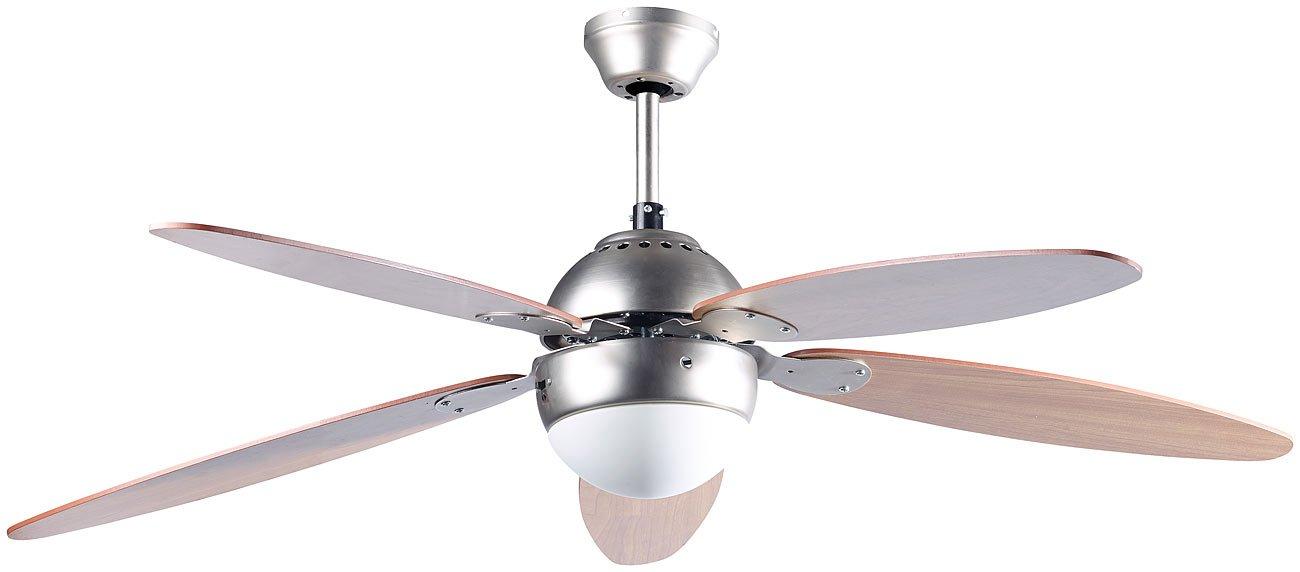Sichler Haushaltsgeräte Ventilator Beleuchtungen: Großer Deckenventilator VT-997 mit Holzflügeln & Beleuchtung, Ø 132 cm (Deckenventilator mit Leuchte) Sichler Haushaltsgeräte