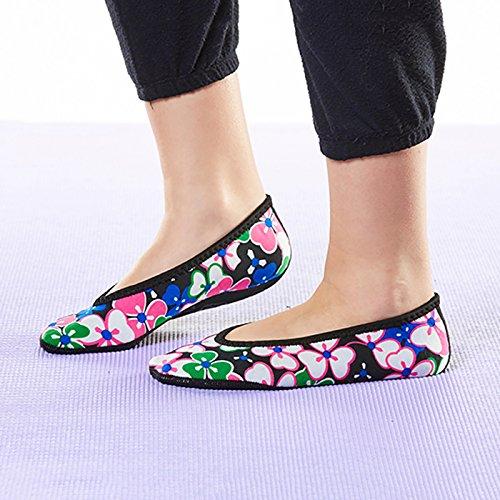 Zapatos De Mujer Nufoot Ballet Flats, Mejores Planos Plegables Y Flexibles, Calcetines De Deslizamiento, Zapatillas De Viaje Y Zapatos De Ejercicio, Zapatos De Baile, Calcetines De Yoga, Zapatos De Casa, Zapatillas De Interior, Flores Negras, X-large