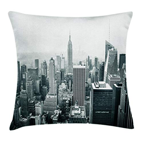 (Ambesonne Urban Throw Pillow Cushion Cover, USA Decor Theme Aerial View of New York City Skyscrapers and The Foggy Sky Digital Print, Decorative Square Accent Pillow Case, 18 X 18)