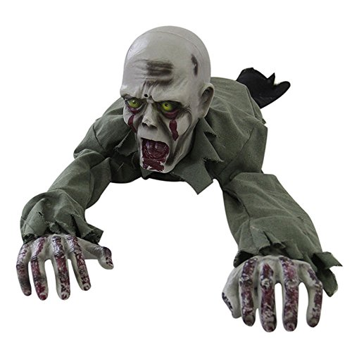 Ground Crawling Zombie Skeleton Animated Halloween Scary Prop Haunted House -