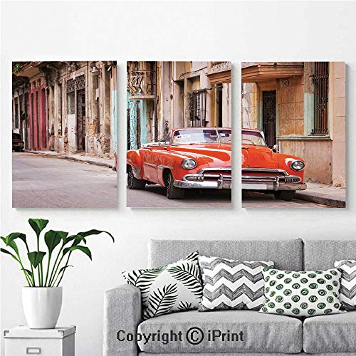 - Modern Salon Theme Mural Classical American Car in a Street with Ancient Houses Caribbeans Havana Cuba Painting Canvas Wall Art for Home Decor 24x36inches 3pcs/Set, Orange Sand Brown