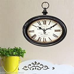 Small Oval Metal Wall Clock Vintage Antique Chic French Unique Rustic Shabby