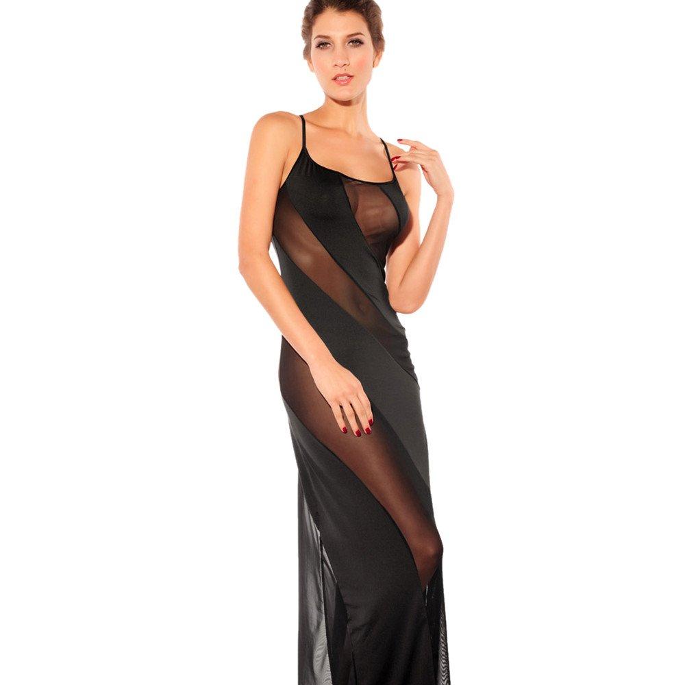 Women V Neck Lingerie Side Slit Long Dress Plus Size Pajamas Nightdress Underwear (Black Perspective, S)