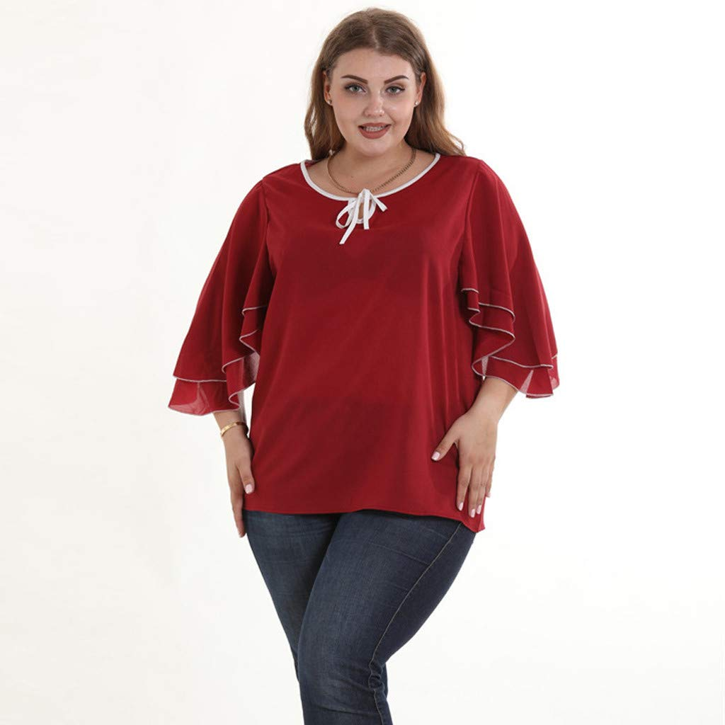 iZHH Womens Blouse Fashion Lotus Leaf Solid Sleeve Shirts Casual Plus Size Blouse