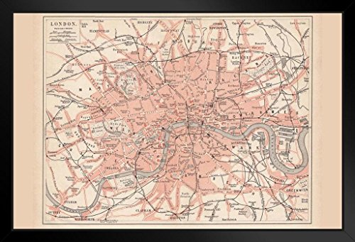 City of London 1877 Vintage Antique Style Map Framed Poster 20x14 inch