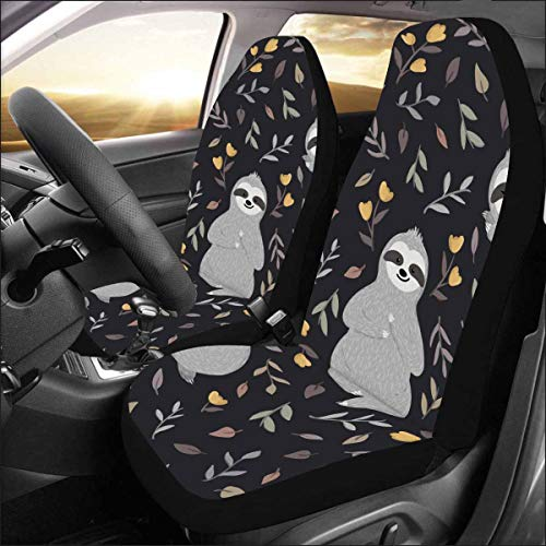 INTERESTPRINT Universal Cute Baby Sloths Relaxing Among Flowers Two Front Car Seat Covers Set -100% Breathable