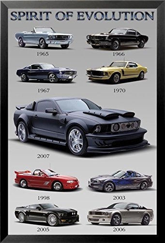 FRAMED Ford Mustang - Spirit of Evolution 36x24 Car Automobile Art Print Poster Racers 1965-2007 Mustang Evolution Poster
