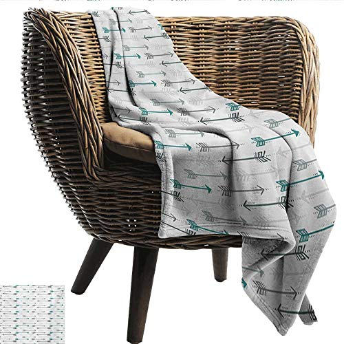 (EwaskyOnline Teal Baby Blanket Retro Arrow Pattern in Horizontal Line Heading to Opposite Directions Art Print Recliner Throw,Couch Throw, Couch wrap 60