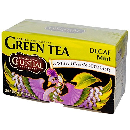Celestial Seasonings, Green Tea, with White Tea, Decaf Mint, 20