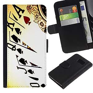 Samsung Galaxy S6 / SM-G920 , la tarjeta de Crédito Slots PU Funda de cuero Monedero caso cubierta de piel ( Cards Poker Ace King Queen Game Play Art)
