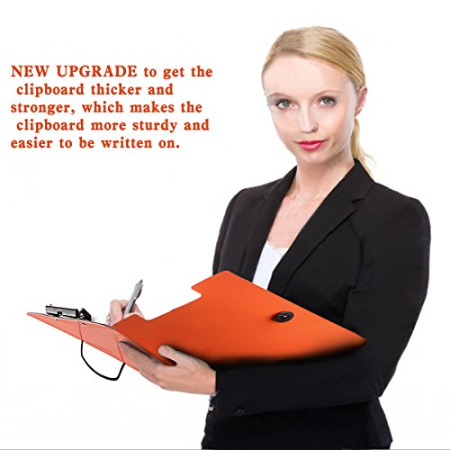 Clipboard Folder File Padfolio Clipboard Storage, Kakbpe Bussiness Letter Size Padfolio with Refillable Notepads, Give a Total of 100 Note Page Markers in Five Colors-Orange, Letter Size Photo #6