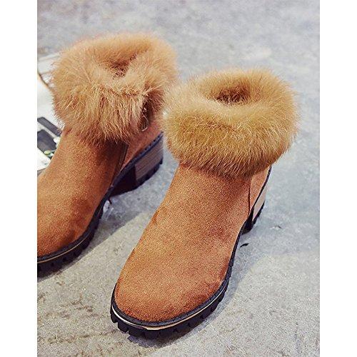 Chunky Scarpe Stivali punta Autunno Inverno PU donna casual moda Babbucce HSXZ Comfort Nero Marrone Stivali Nabuck Brown tonda abbigliamento tallone di stivaletti Pelle PzqOFd