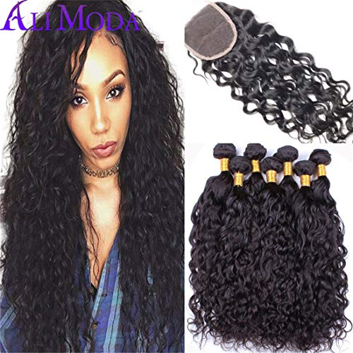 - Ali Moda Hair 10A Malaysian Water Wave Ocean Wave with 4x4 Lace Closure 20 22 24 with 18inch 100% Unprocessed 3 Bundles Natural Color Human Hair Weft