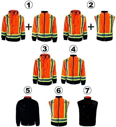 Orange Medium BBH 116501ORM Terra 11-6501-ORM High-Visibility 7-In-1 Reflective Safety Jacket