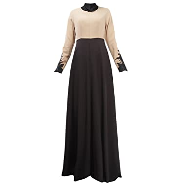 6f33ce4f498 Amazon.com  Froomer Women Abaya Jilbab Muslim Kaftan Long Sleeve Maxi Dress   Clothing