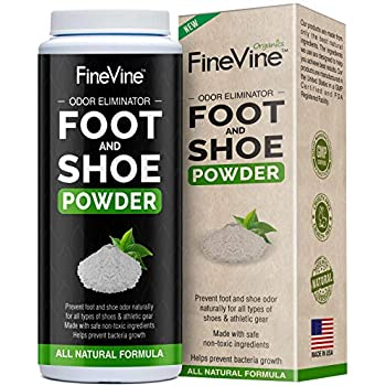 Foot and Shoe Powder - Deodorizer and Odor Eliminator | Remove Bad Smells from Stinky Feet, and Sweaty Socks | Safe for Slippers, Sneakers, Athletes Footwear, Hockey and Tennis Equipment | Made in USA
