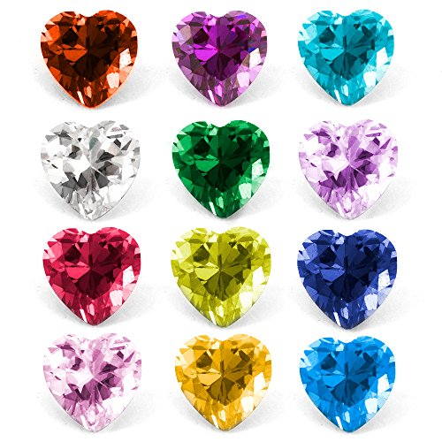 (RUBYCA Mix Color Heart Birthstone Crystal Glass Floating Charms fit Living Memory Locket 5mm 24 Pcs)