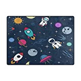 Chen Miranda Cute Astronaut Spaceship Rocket Stars In Outer Modern Area Rugs Living Room Carpets for Bedroom Home Decorate Kids Playing Mat Nursery Rugs 63 x 48 inch Lightweight Foam Printed Rug