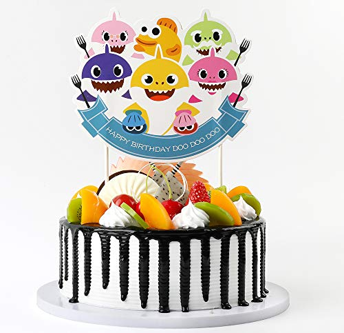 Cute Shark Cake Topper Birthday Cake Topper Cake Decorations for Birthday Party (2 ()