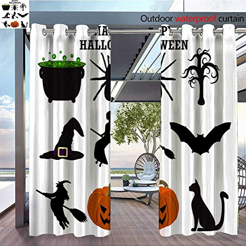 Exterior/Outside Curtains Silhouettes Set for Halloween Party for Patio Light Block Heat Out Water Proof Drape W72 x L108/Pair