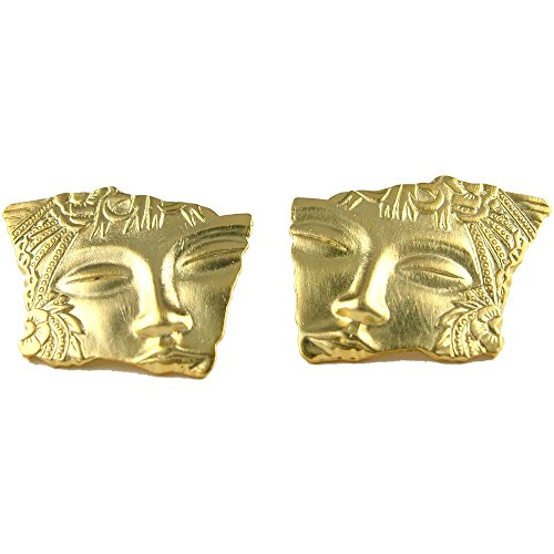 Vintage 1920'S Style Face Fragment Earrings, Post in Gold Tone with Matte Finish ()