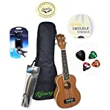 """Keenery 21"""" Handcrafted Professional Mahogany Soprano Ukulele Now with Aquila Strings Starter Kit With Gig Bag, Strap, Extra Strings, Picks, Tuner"""