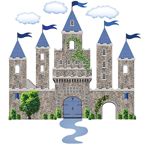 Castle Wall Decal Blue Stone Castle Decal Medieval Castle Removable, Reusable Peel and ()