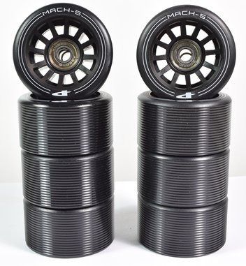 Pacer Mach-5 Wheels with ABEC 5 Bearings - Black - Set of 8 (Skate Abec Bearings 5)