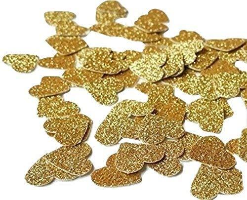 Herzform Gold Glitter Weiß Dekoration Konfetti Hochzeit Tisch Party Geburtstag, Packung mit 200 Konfetti