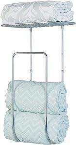 mDesign Modern Decorative Metal Wall Mount Towel Rack Holder Organizer with Shelf for Storage of Bathroom Towels, Washcloths, Hand Towels - Large - Chrome