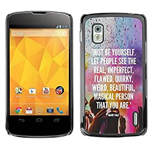 Impact Case Cover with Art Pattern Designs FOR LG Nexus 4 E960 Be Yourself Kuli Holiday Indian Text White Betty shop