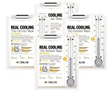 [MOONLAB] REAL COOLING Thermometer Sheet Mask Skin Radiance – Ultra Cooling on the Skin, Relieves Overheated and Tired Skin, Bio-Cellulose Sheet, 25ml Pack of 4pcs