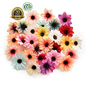silk flowers in bulk wholesale Rose Artificial Silk Daisy Rose Flowers Wall Heads Home Wedding Decoration DIY Wreath Accessories Craft Fake Flower 80Pcs 5cm (Multicolor) 5