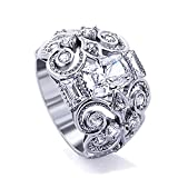 Rhodium Plated Sterling Silver Wedding Ring Celtic Design, Special Cut CZ Anniversary Ring Size- 9