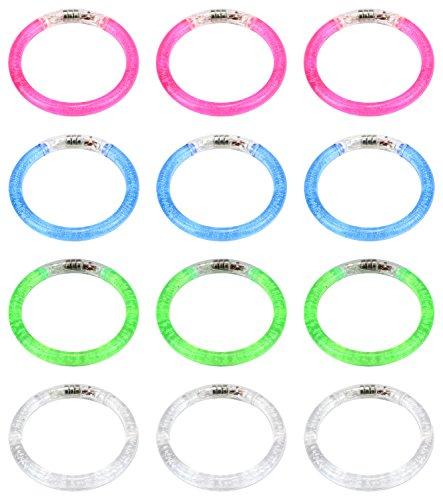 Set of 12 VT Flashing Clear LED Light Up Party Favor Toy Bracelets