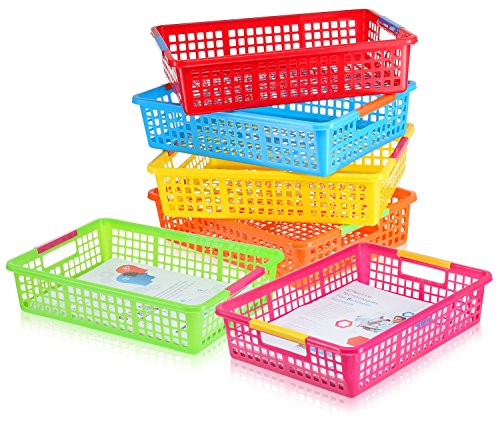 6 Pack - Paper Organizer Basket, Classroom File Holder Colorful Plastic Bins, Teacher School Supplies Storage Baskets, Drawer Organization Trays with Handles, Colored