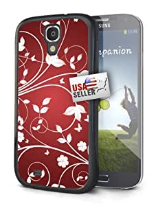 White and Red Floral Art Black Plastic Cover Case for Samsung Galaxy S4 MINI