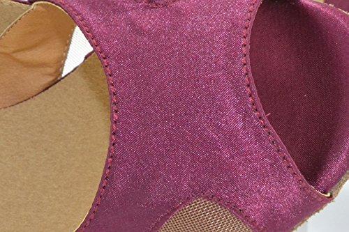 Salón De Bodas Moda Vestir Satén Damas Zapatos De Baile Zapatos De Baile Moderno Del Jazz Latino Púrpura rojo 10cm.